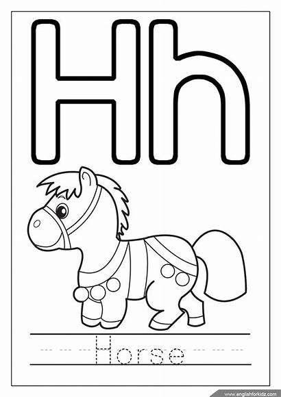 Coloring Alphabet Letters Printable Letter Horse Influenza