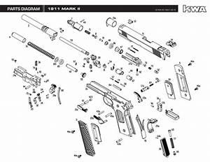 Kwa Full Metal 1911 Mark Ii Ptp Airsoft Gun Blowback Gas