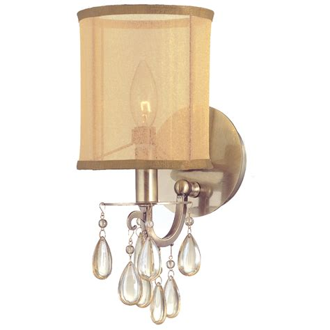 hton antique brass crystal wall sconce with silk shade