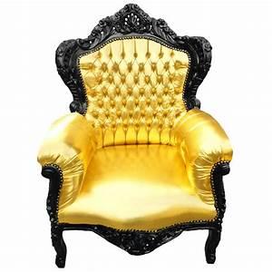 Fauteuil Cuir Et Bois : grand fauteuil de style baroque en simili cuir dor et bois noir ~ Teatrodelosmanantiales.com Idées de Décoration