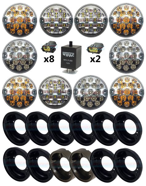 land rover defender clear 95mm nas 10 led l light complete upgrade kit rdx wipac