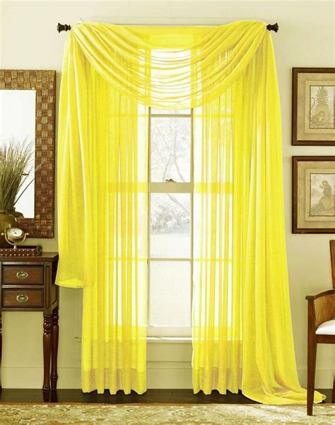 Drapes Sizes - yellow scarf sheer voile window curtain drapes valance