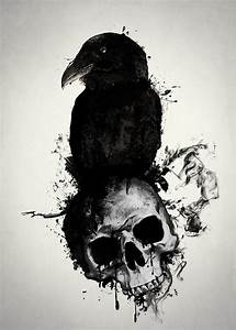 Raven And Skull Mixed Media by Nicklas Gustafsson