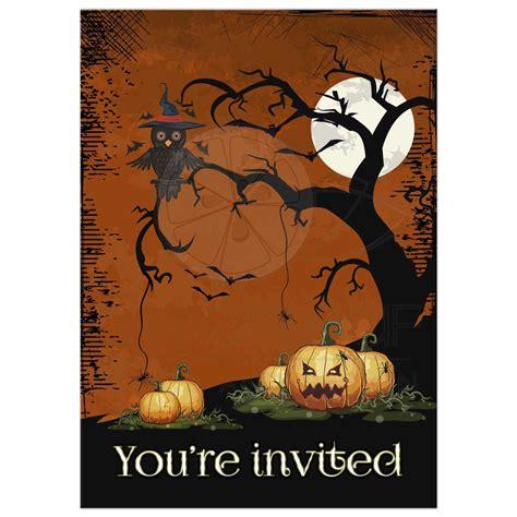 owl and pumpkins invitation