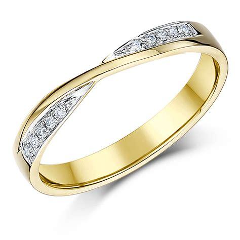 3mm 9ct yellow gold crossover diamond wedding ring yellow gold at elma uk jewellery