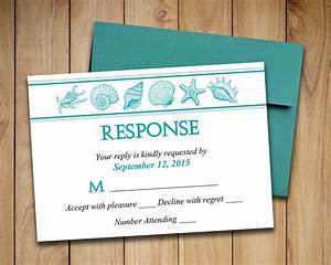 beach wedding rsvp template seashell response card With free printable wedding invitations and rsvp cards