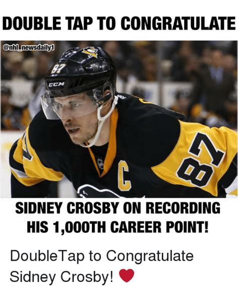 Sidney Crosby Memes - double tap to congratulate news daily1 ccm sidney crosby on recording his 1000th career point