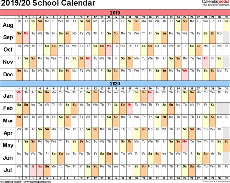 school calendars printable excel templates