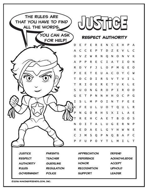 Magenta Petal Superhero Word Search  Justice Makingfriends