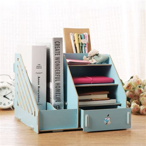 fashion candy color office desk organizer wood cabinet diy
