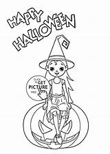 Coloring Halloween Witch Printable Pages Holidays sketch template