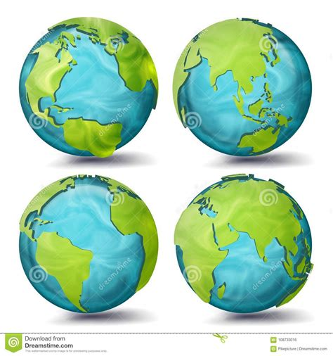 vettore della mappa di mondo insieme pianeta 3d terra con i continenti l eurasia australia