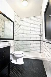 Carrelage Hexagonal Blanc : le carrelage noir entre dans la salle de bain et la ~ Premium-room.com Idées de Décoration