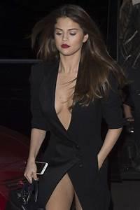 Selena Gomez in Black Dress Leaving Hotel in Paris