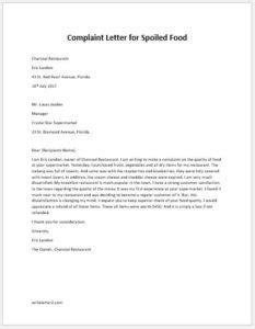 Complaint Letter for Spoiled Food | writeletter2.com