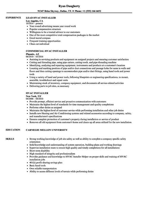 hvac installer resume sles velvet jobs