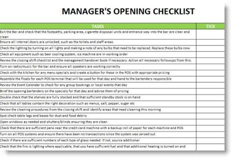 restaurant manager opening  closing checklist google