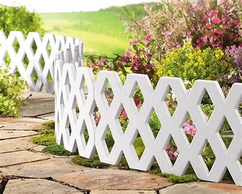 White Lattice Edging Garden Patio