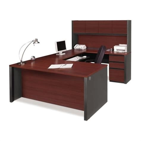 desk and hutch set bestar prestige u desk and hutch office set in bordeaux