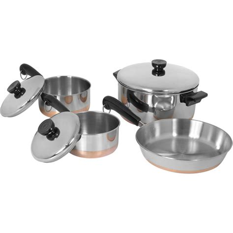 copper bottom cookware revere copper bottom line 7 piece set stainless steel