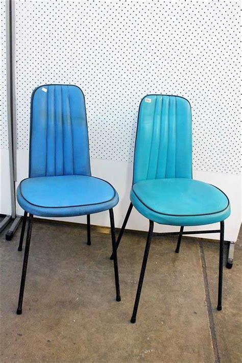 pair  retro turquoise vinyl kitchen chairs circa