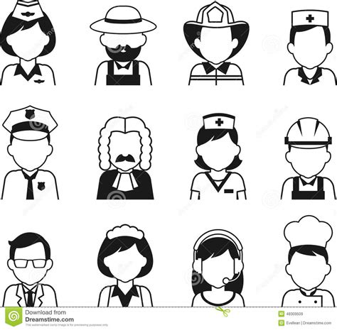 13180 career clipart black and white occupation avatar set in thin flat style stock