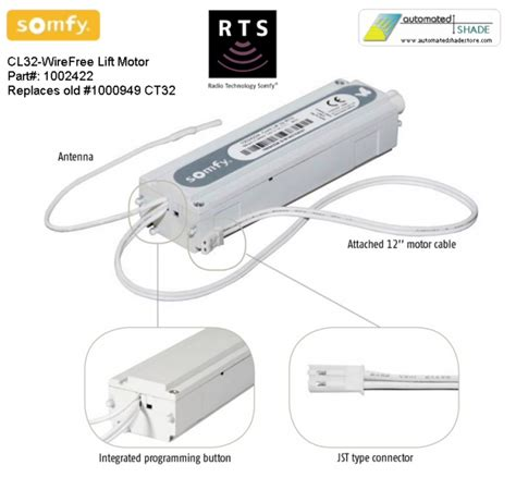somfy cl32 wirefree rts shade lift motor 1002422