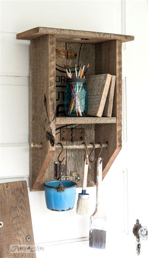 reclaimed wood branch shelf