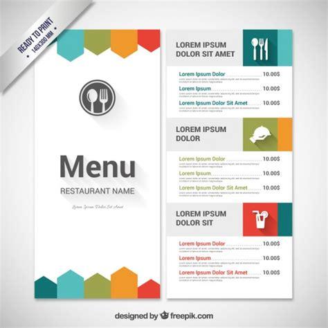 free menu design colorful menu template vector free
