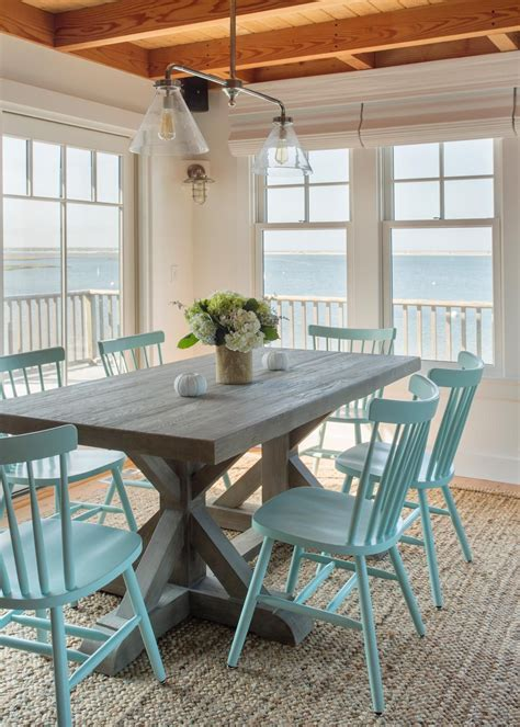 coastal dining room  beachy blue dining chairs hgtv