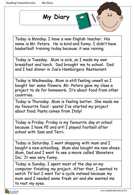 comprehension page  english treasure trove