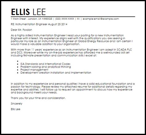 instrumentation engineer cover letter sle livecareer