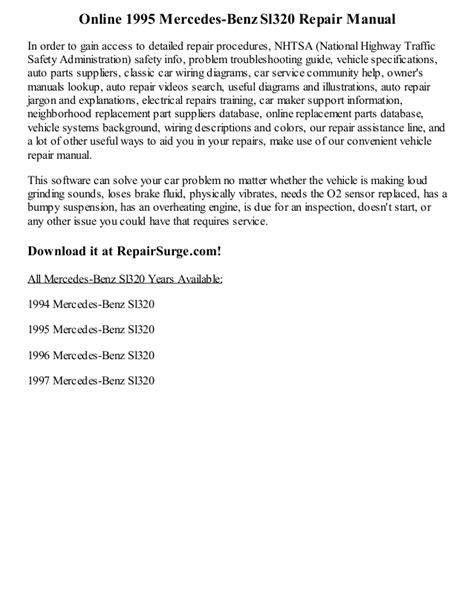 free download parts manuals 1993 mercedes benz 500sl user handbook 1995 mercedes benz sl320 repair manual online