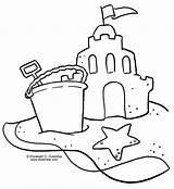 Coloring Sandcastle Sheets Printable Drawing Sand sketch template