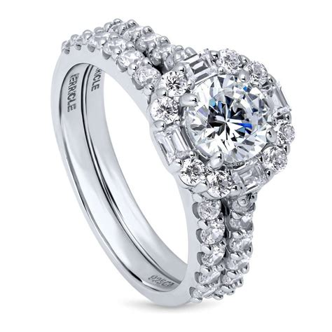 berricle sterling silver cz art deco halo engagement ring 2 41 carat ebay