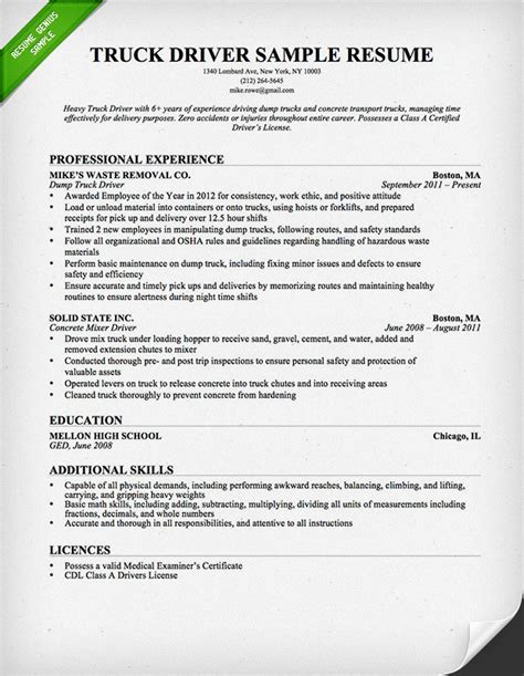 Truck Driver Resume Sample And Tips  Resume Genius. Adjunct Professor Resume. Lead Pharmacy Technician Resume. Sample Baker Resume. Effective Resume Examples. Building Engineer Resume Sample. Carpenters Resume. Resume Format For Mba Marketing Fresher. Skills For A Retail Resume