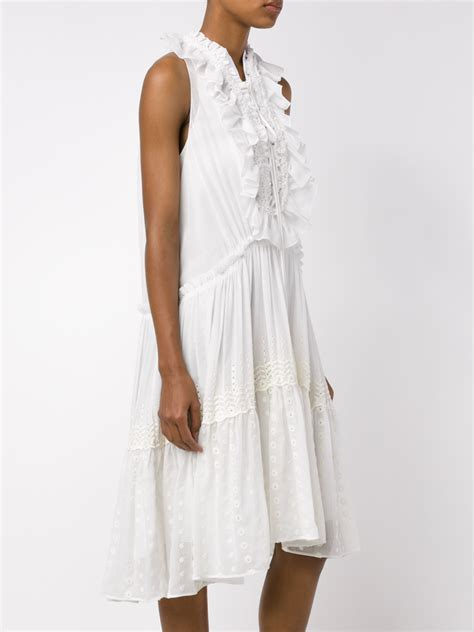sleeveless frilled dress chloé ruffled broderie anglaise cotton dress in white lyst