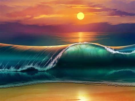 Sunset Sea Waves Beach 4k Ultra Hd Wallpapers For Desktop