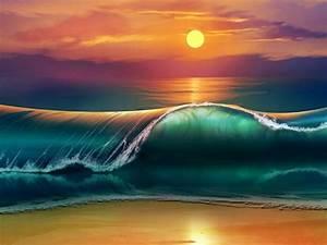Sunset, Sea, Waves, Beach, 4k, Ultra, Hd, Wallpapers, For, Desktop