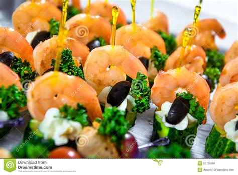 canapé 2places delicious seafood canapes stock photo image 55755086