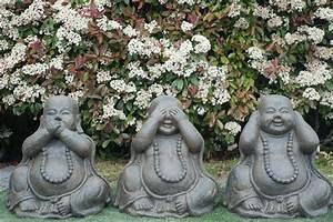 Statue Singe De La Sagesse : set de 3 statues moine de la sagesse 70 cm marron antique ~ Teatrodelosmanantiales.com Idées de Décoration