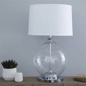 Glass ball table lamp with white shade by primrose plum for Floor lamp with plum shade