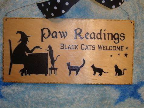 paw readings black cats  large unique wooden sign