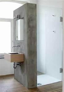 Beton Cire Deco : une cloison de douche faite en b ton cir sur carrelage ~ Premium-room.com Idées de Décoration