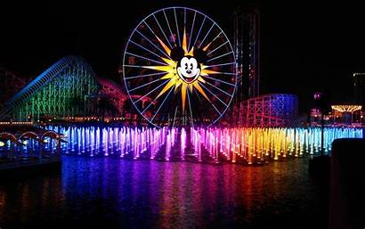 Disneyland Castle Night California Anaheim Mickey Fountain