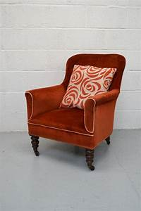 Victorian, Upholstered, Small, Armchair, Bedroom, Reading, Chair