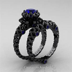 caravaggio lace 14k black gold 10 ct blue sapphire With sapphire engagement ring and wedding band set