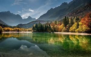 Nature, Landscape, Lake, Mountain, Forest, Fall, Mist, Sunset