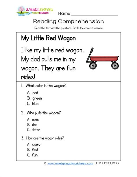 Kindergarten Reading Comprehension Worksheets  This Worksheet Tells Of A Child's Experience