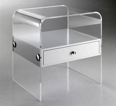 Comodini Plexiglass by Comodino Plexiglass Acrilico Trasparente Cassetto Bianco
